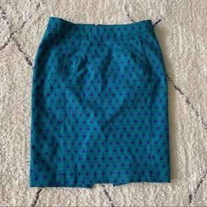 Fossil green & blue pencil skirt w/ pockets